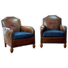 Pair of 1930s Art Deco French Leather Club Chairs
