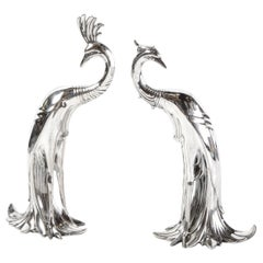 Pair of 1930s Art Deco Silverplated Stylized Peacock Sculptures by Weidlich Bros
