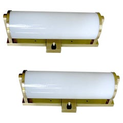 Pair of 1930s Bauhaus Sconces, Brass and Glass