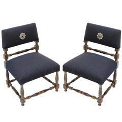 "Pair of 1930s Brazilian ""Mini Poltronas"" Gold Leaf Chairs"
