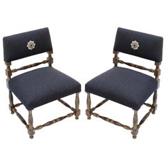 "Pair of 1930s Brazilian ""Mini Poltronas"" Gold Leaf Chairs"
