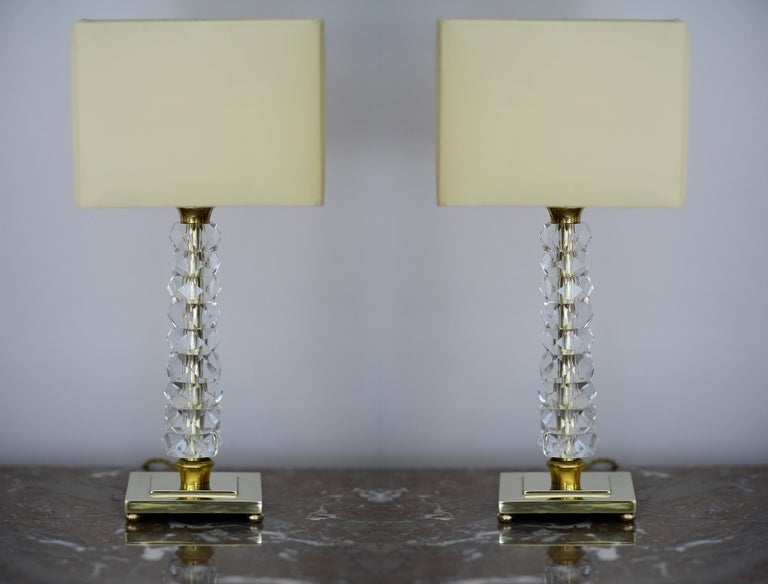 This one is the last pair and probably the most beautiful one...  This pair of comes from a set of 26 lamps (13 pairs) from the Prince de Galles Hotel in Paris, France. The lamp bodies are in gilt bronze and the stems are beaded in crystal. These