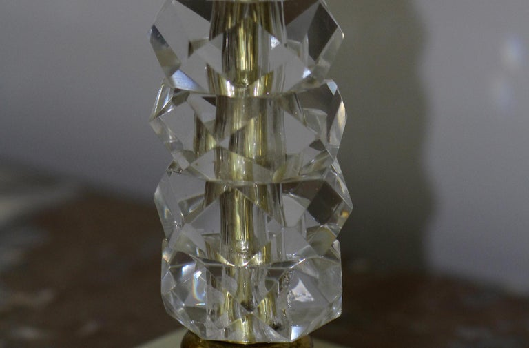 Brass Pair of 1930s Bronze and Crystal Lamps from Prince De Galles Hotel For Sale