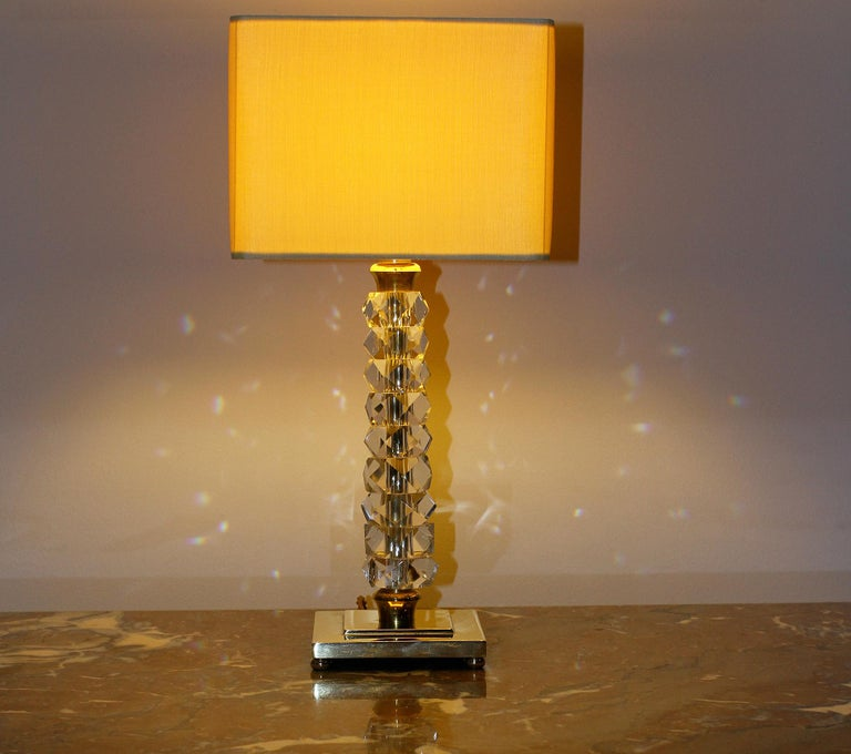 Pair of 1930s Bronze and Crystal Lamps from Prince De Galles Hotel For Sale 2