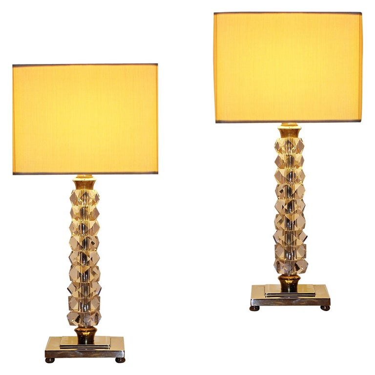 Pair of 1930s Bronze and Crystal Lamps from Prince De Galles Hotel For Sale