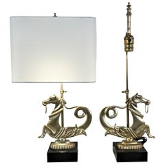 Pair of 1930s Bronze Horse Table Lamps