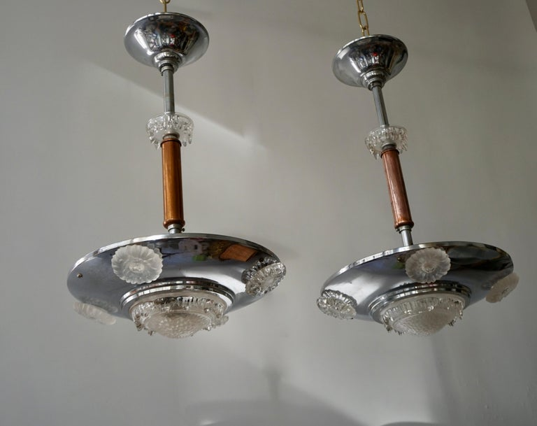 20th Century Pair of 1930s Chrome and Glass Art Deco Chandeliers For Sale