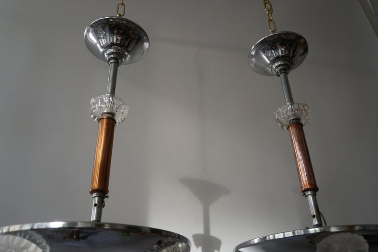 Pair of 1930s Chrome and Glass Art Deco Chandeliers For Sale 1