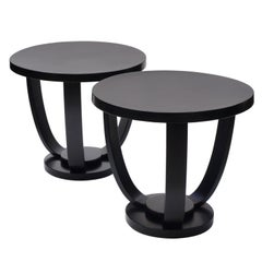 Pair of 1930s Circular Black Bent Wood Side Tables by Fischel