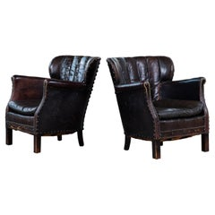 Pair of 1930's Classic Danish Club Chairs in Black Patinated Leather