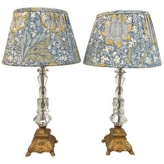 Pair of 1930s Crystal Table Lamps with Brass Bases and William Morris Lampshade