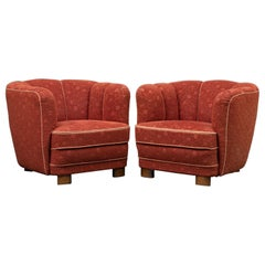 Pair of 1930s Curved Club Chairs