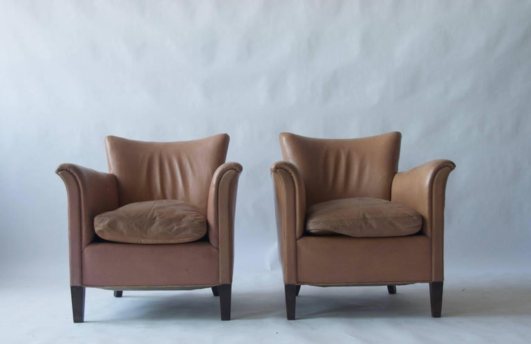 Pair of 1930s Danish leather club chairs. (Last 2 images are examples of the same pair of chairs and not included in the listing).