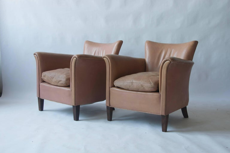 Pair of 1930s Danish Leather Club Chairs In Fair Condition For Sale In Pelham, MA