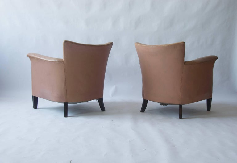 20th Century Pair of 1930s Danish Leather Club Chairs For Sale