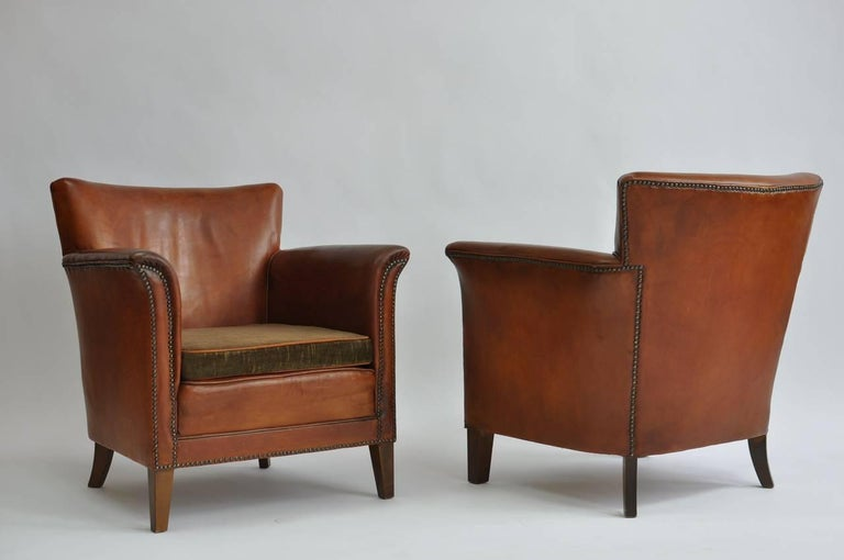 Pair of 1930s Danish Leather Club Chairs For Sale 3