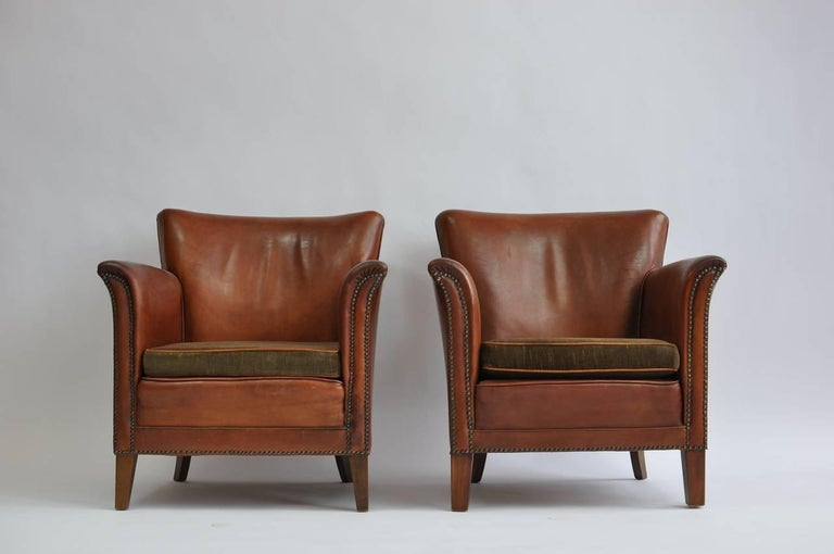 Pair of 1930s Danish Leather Club Chairs For Sale 4
