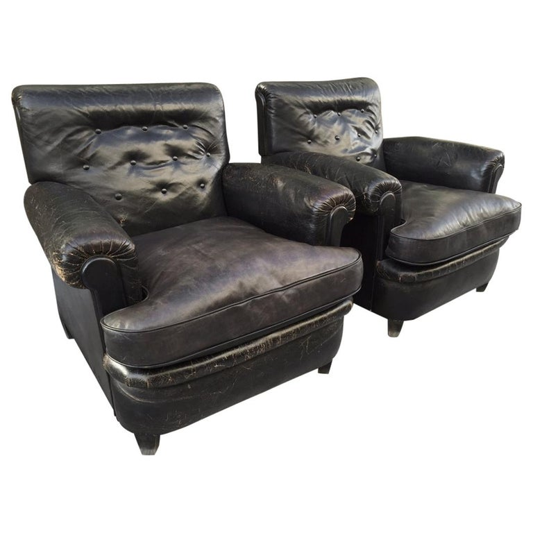 Pair of 1930s English Leather Club Chairs For Sale