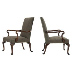 Pair of 1930S English Walnut Armchairs