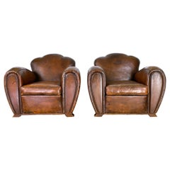 Pair of 1930s French Art Deco Club Chairs Camel Back