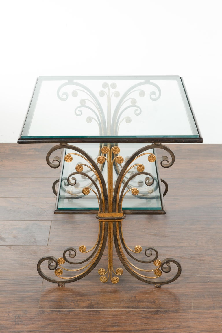 Pair of 1930s French Art Deco Period Iron and Brass Side Tables with Glass Tops For Sale 6
