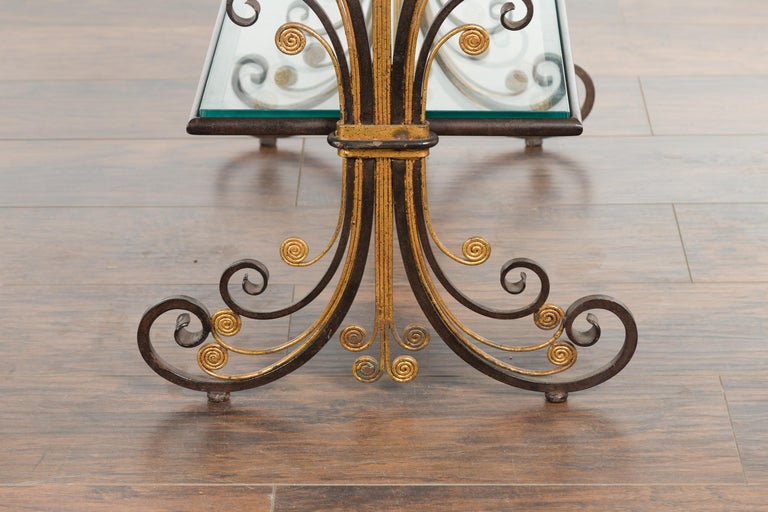 Pair of 1930s French Art Deco Period Iron and Brass Side Tables with Glass Tops For Sale 8