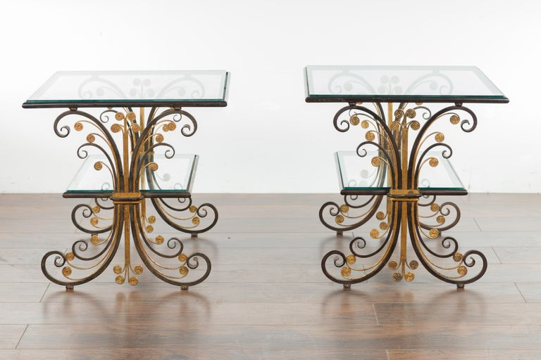 Pair of 1930s French Art Deco Period Iron and Brass Side Tables with Glass Tops For Sale 9