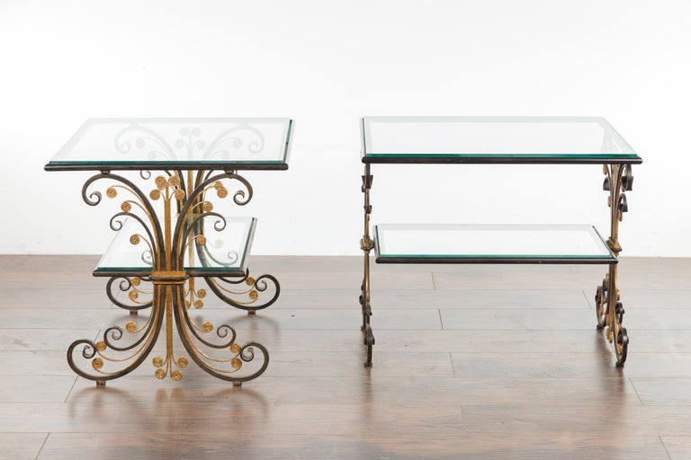 Pair of 1930s French Art Deco Period Iron and Brass Side Tables with Glass Tops For Sale 10