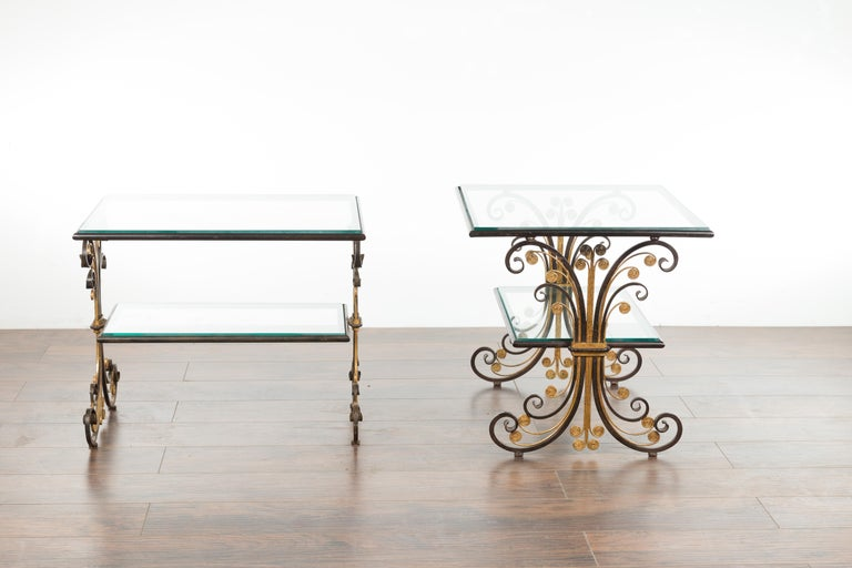 Pair of 1930s French Art Deco Period Iron and Brass Side Tables with Glass Tops For Sale 11