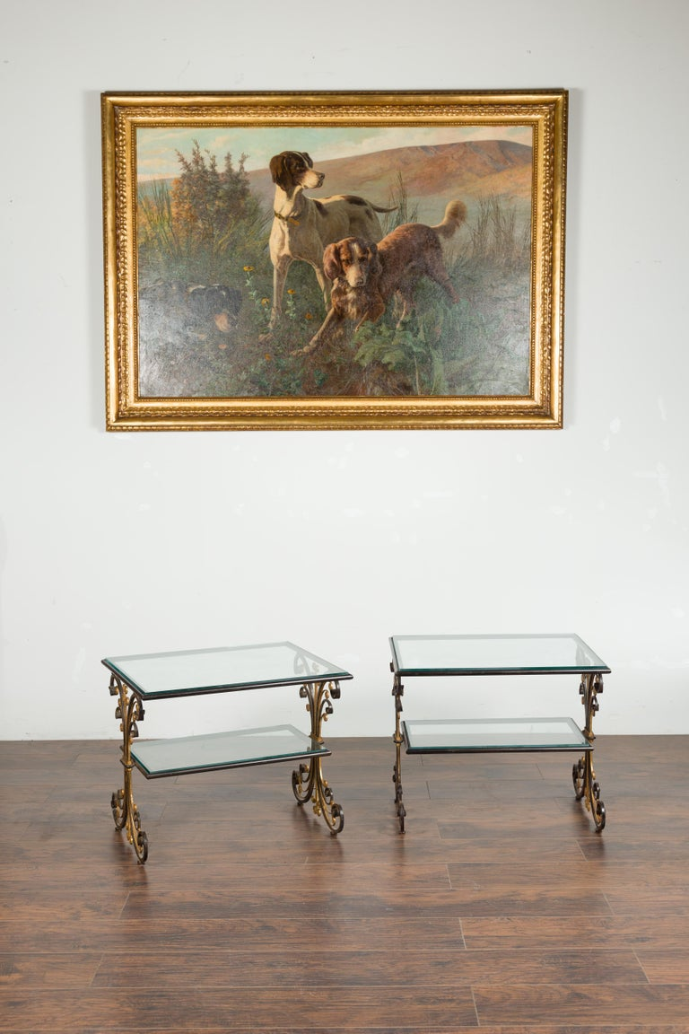 20th Century Pair of 1930s French Art Deco Period Iron and Brass Side Tables with Glass Tops For Sale