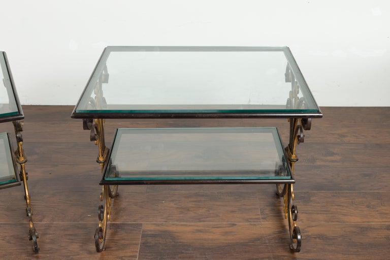 Pair of 1930s French Art Deco Period Iron and Brass Side Tables with Glass Tops For Sale 1