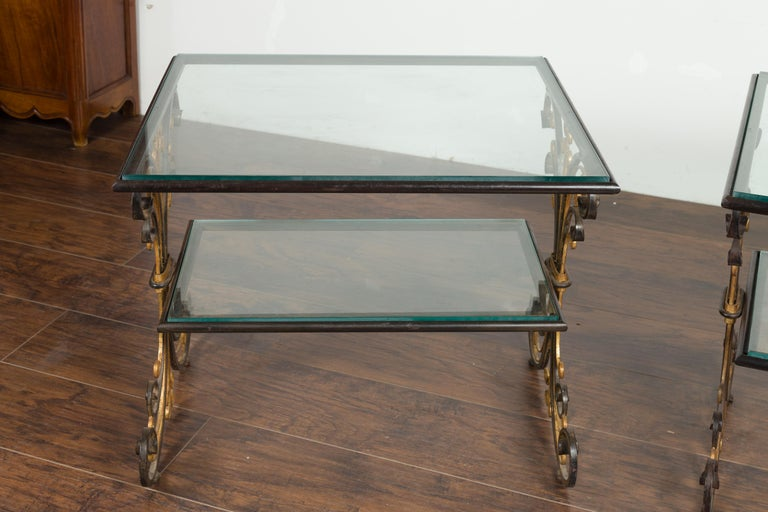 Pair of 1930s French Art Deco Period Iron and Brass Side Tables with Glass Tops For Sale 2