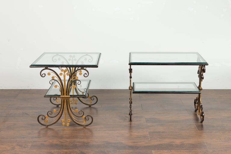 Pair of 1930s French Art Deco Period Iron and Brass Side Tables with Glass Tops For Sale 4