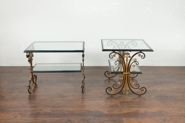 Pair of 1930s French Art Deco Period Iron and Brass Side Tables with Glass Tops For Sale 5