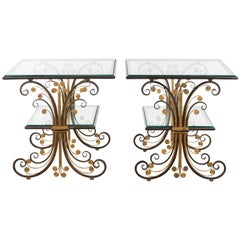 Pair of 1930s French Art Deco Period Iron and Brass Side Tables with Glass Tops