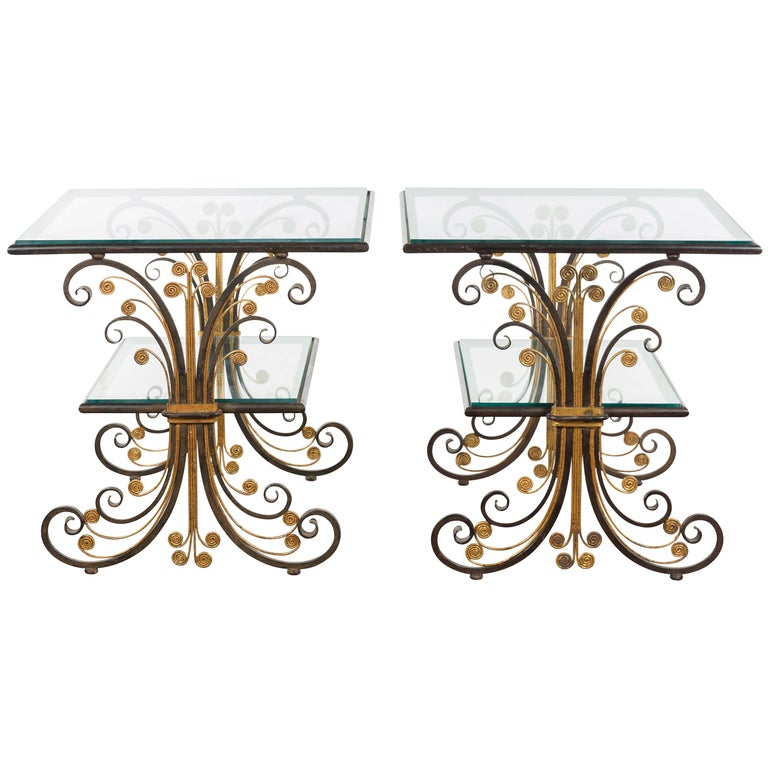 Pair of 1930s French Art Deco Period Iron and Brass Side Tables with Glass Tops For Sale