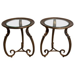Pair of 1930s French Bronzed Scrolled Leg Side Tables with Glass Inserts
