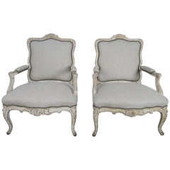 Pair of 1930s French Carved Painted Fauteils
