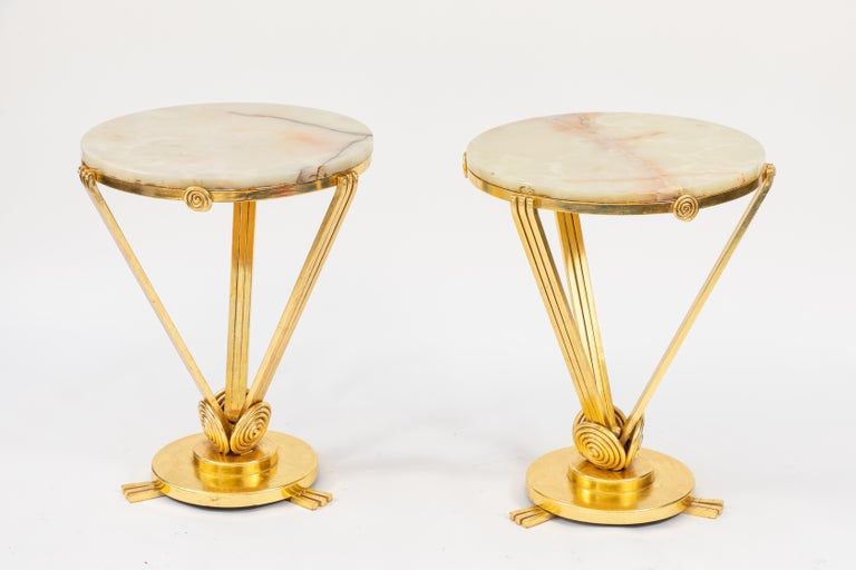 Pair of 1930s French Deco Gilded Iron Tables with Onyx Tops For Sale 4
