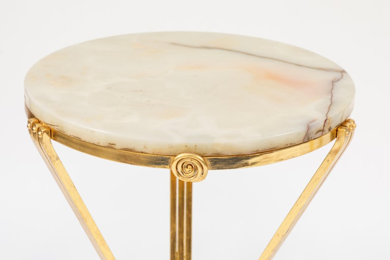 Pair of 1930s French Deco Gilded Iron Tables with Onyx Tops For Sale 6