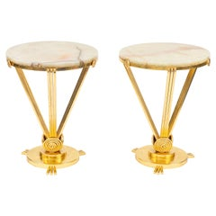 Pair of 1930s French Deco Gilded Iron Tables with Onyx Tops