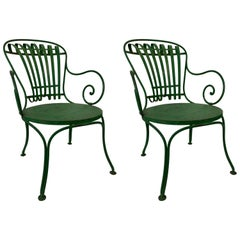 Pair of 1930s French Garden Chairs from Francois Carre