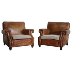 Pair of 1930s French Leather Armchairs