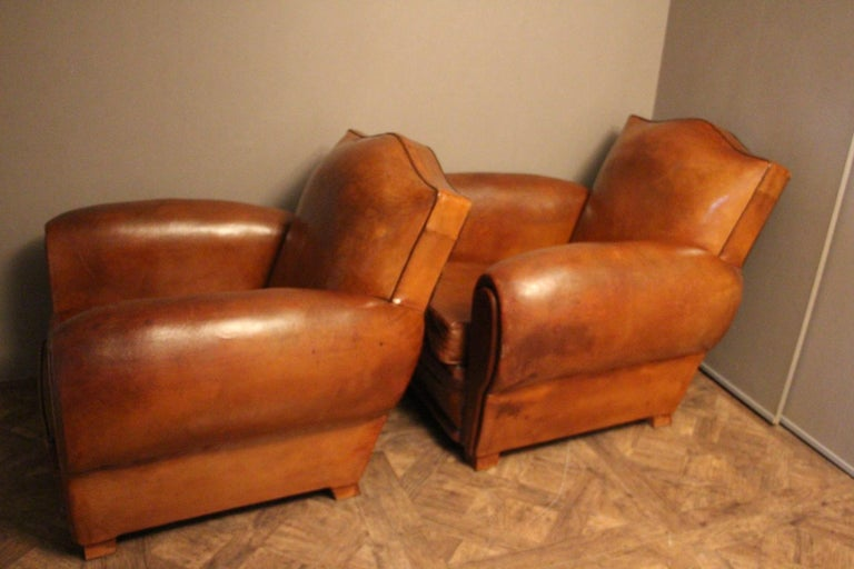 Pair of 1930s French Leather Club Chairs, Moustache Back For Sale 6