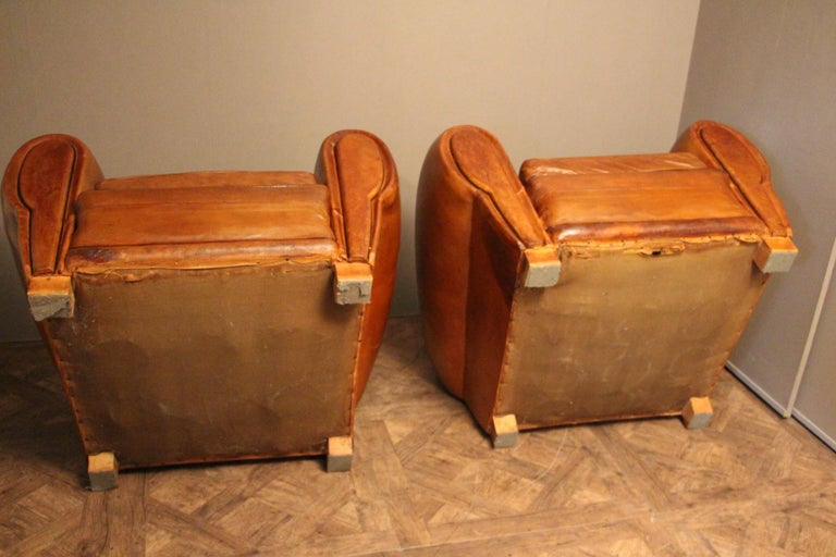 Pair of 1930s French Leather Club Chairs, Moustache Back For Sale 7