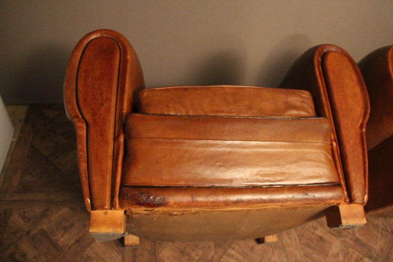 Pair of 1930s French Leather Club Chairs, Moustache Back For Sale 8