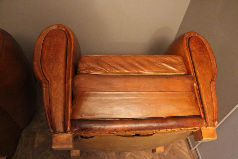 Pair of 1930s French Leather Club Chairs, Moustache Back For Sale 9