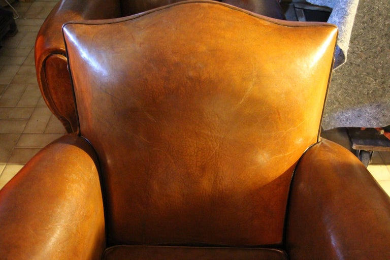 Pair of 1930s French Leather Club Chairs, Moustache Back For Sale 10