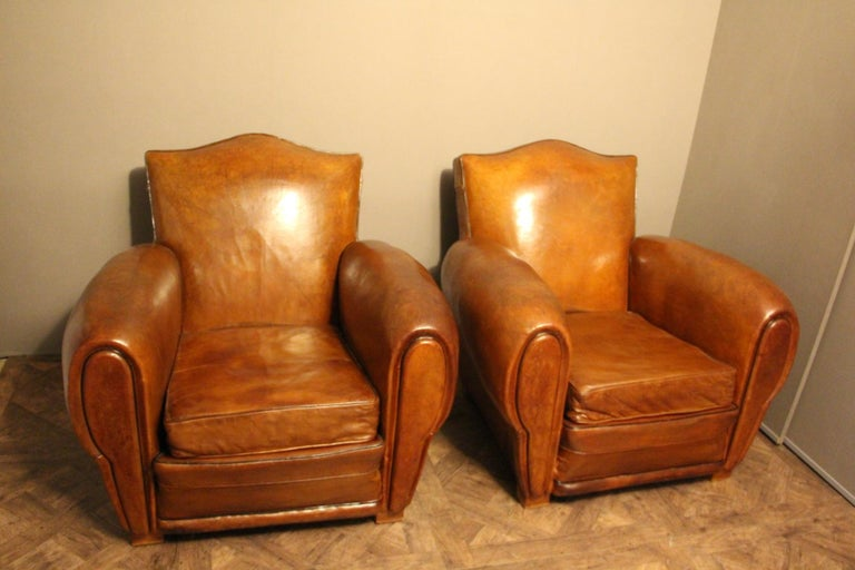 Art Deco Pair of 1930s French Leather Club Chairs, Moustache Back For Sale