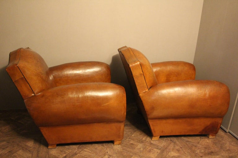 Mid-20th Century Pair of 1930s French Leather Club Chairs, Moustache Back For Sale